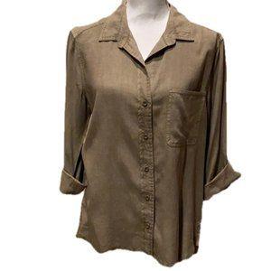 Bella Dahl 3/4 Sleeve Utility Shirt High Low Hem